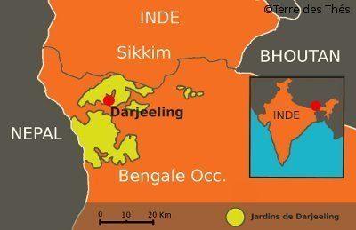 Carte Jardins Thé Darjeeling