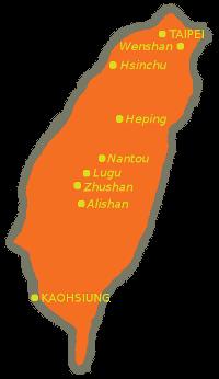 carte de Taiwan et son thé