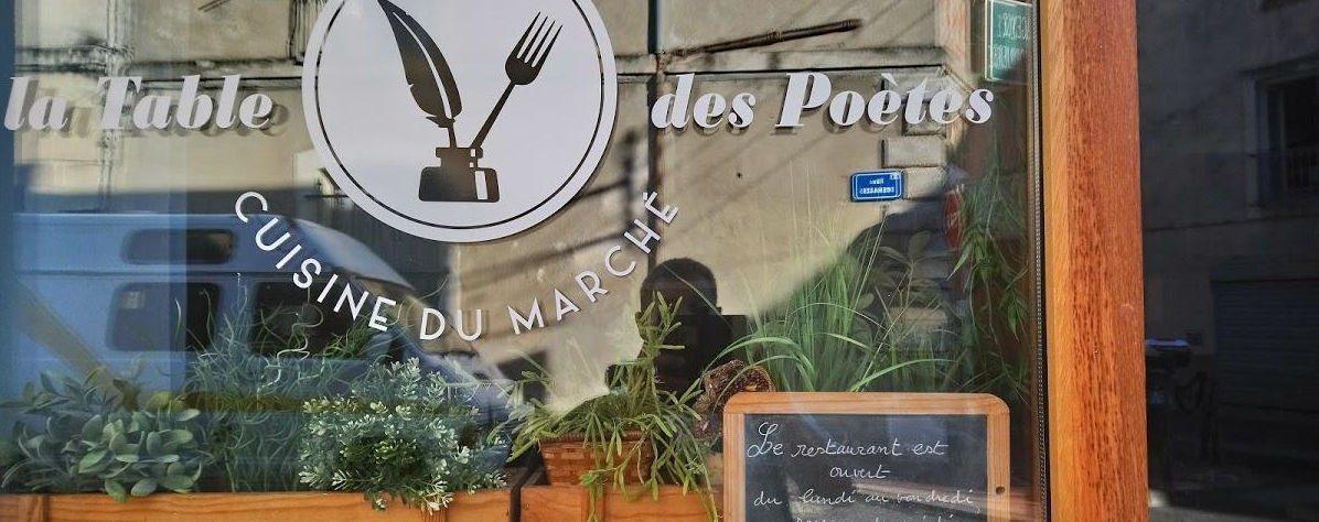 vitreine Table des Poètes Montpellier