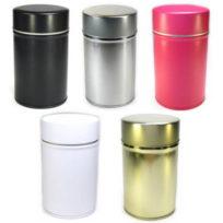 boite à thé vide noir ou gris en métal avec double couvercle