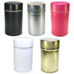 boite à thé vide noir, argent, doré, rose, blanc en métal avec double couvercle