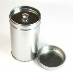 Boite à thé en métal argent 60g - double oppercule