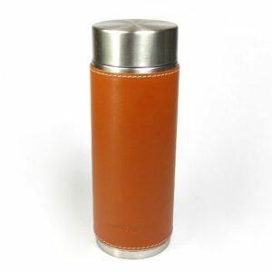 thermos fourreau cuir brun isotherme thé